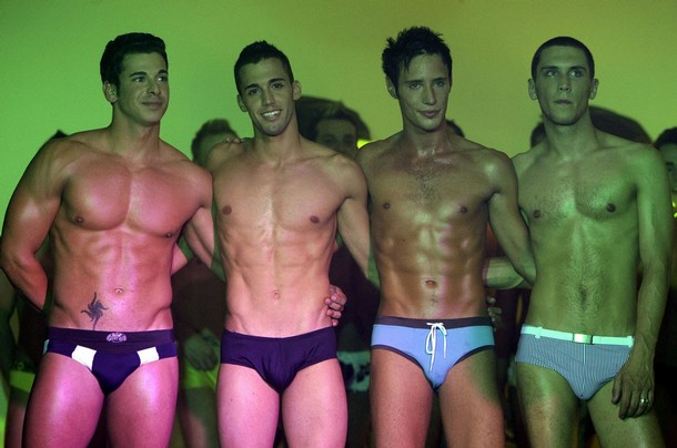 Contestants are seen on a catwalk during the final of the Mr Gay Europe 2008 competition in Budapest